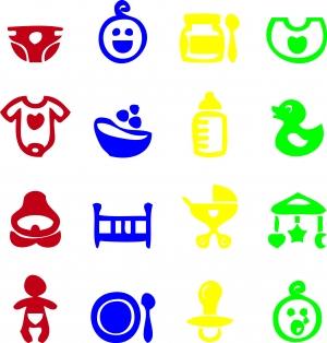 Разноцветный набор наклеек на выписку.