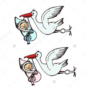 Малыш в конверте - наклейка на выписку