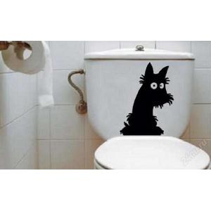 наклейка на туалет - Песик на толчке