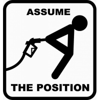 Assume the position, наклейка