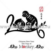Год обезьянки Наклейки на Новый Год 2016