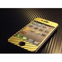 Наклейка на IPhone золотой карбон 3D.