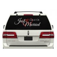 just married и имя - наклейка на авто свадебная
