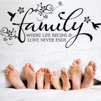 FAMILY where life begins and love never ends - наклейка