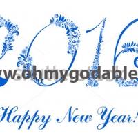 Гжель - Наклейка Новый Год 2016