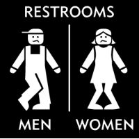 стикер - Restroom Men Women