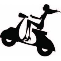 На скутере, наклейка