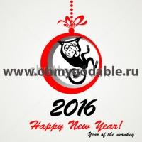 Год обезьянки - Новогодняя наклейка 2016