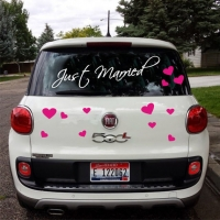 Just married Hearts - наклейки на свадьбу